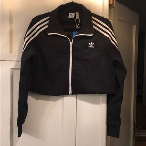 Brand new adidas cropped track top black
